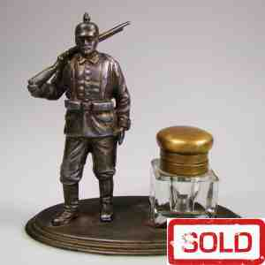 WW1 Art German/Prussia Military Inkwell Desk