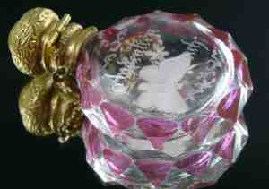 19th Century Miniature Pink Glass Scent Bottle